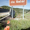 Salor river road sign, Caceres, Spain