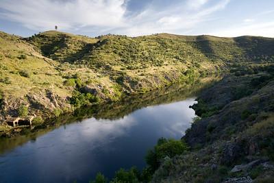 Tagus river close to Alcantara bridge, province of Caceres, autonomous community of Extremadura, southwestern Spain