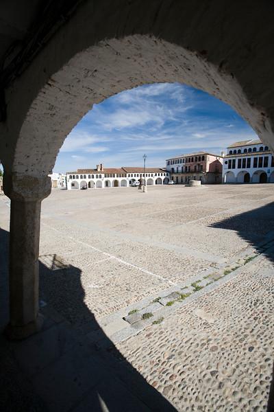 Arcade, main square or plaza mayor of Garrovillas de Alconetar, Caceres, Extremadura, Spain