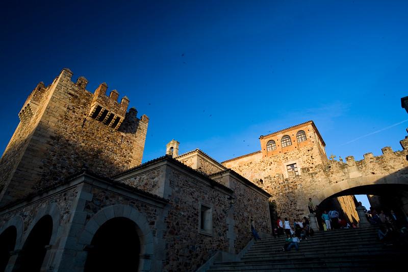 Bujaco tower and Estrella gate, Plaza Mayor, Caceres, Spain