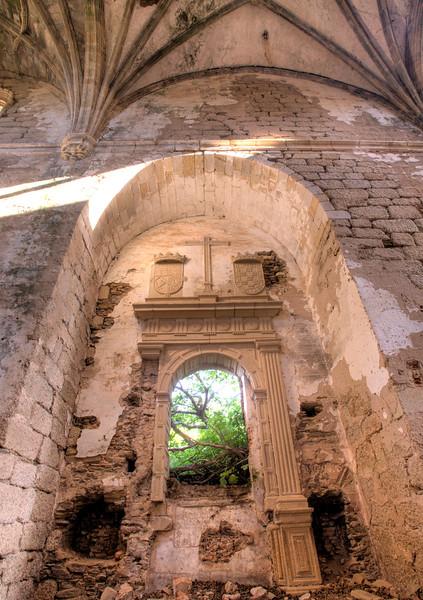 Gothic vaults of the abandoned convent of San Antonio de Padua (15th century), Garrovillas, Caceres, Extremadura, Spain