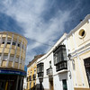 Modern and traditional buildings, Alcantara, Caceres, Spain