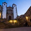San Jorge square and San Francisco Javier church at dusk, Caceres, Spain