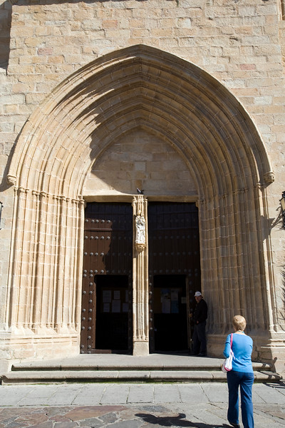 Gothic facade of Saint Mary Concathedral, Caceres, Spain