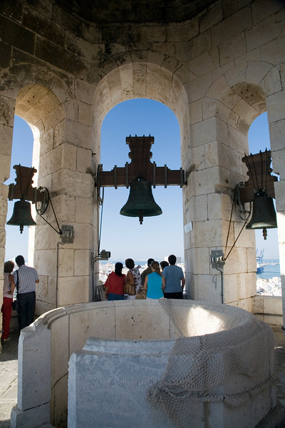 People looking at Cadiz from the highest point in the city: the western tower of the cathedral.
