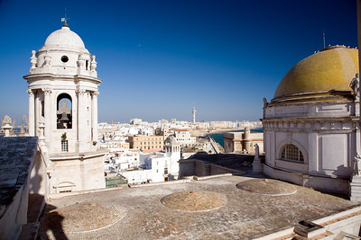 View of the Cathedreal Dome and the East Tower from the West tower, Cadiz, Spain
