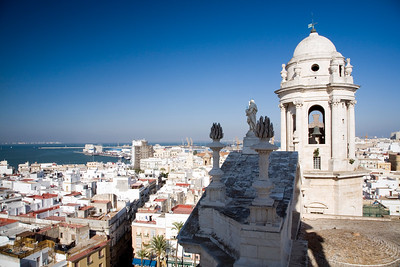 Aerial view of Cadiz. On the right, one of the Cathedral bell towers.