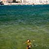 Refreshing image of people enjoying the sea in Cadiz, Spain