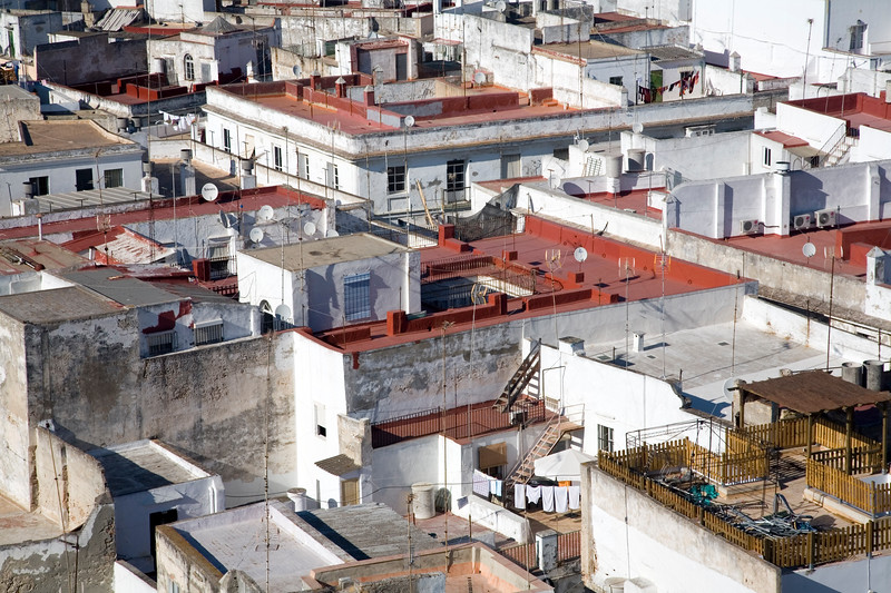 Aerial view of Cadiz from the West Tower of the Cathedral, the highest point in the city.
