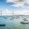Panorama of Cadiz Bay, with La Pepa Bridge on the background, Cadiz, Andalusia, Spain