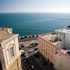 Aerial view of Cadiz and the Atlantic Ocean from the West Tower of the Cathedral, the highest point in the city.