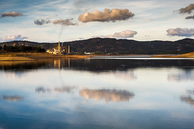 Puente Nuevo reservoir and thermal plant, Guadiato river, province of Cordoba, Spain.