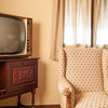 Vintage TV in an old fashioned hotel room, Guadalara, Spain