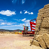Straw bales and agricultural machinery, town of La Barbolla, province of Guadalajara, Spain