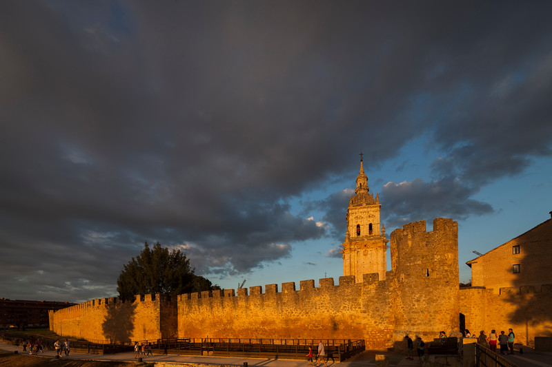 View of the city walls and the Cathedral at sunset from the West. El Burgo de Osma, Soria, Spain.