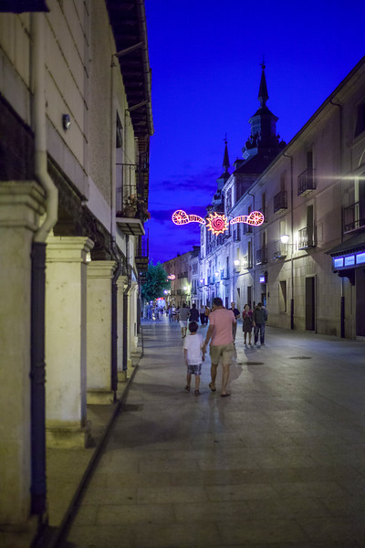 Calle Mayor (Main Street) at night, Burgo de Osma, Soria, Spain
