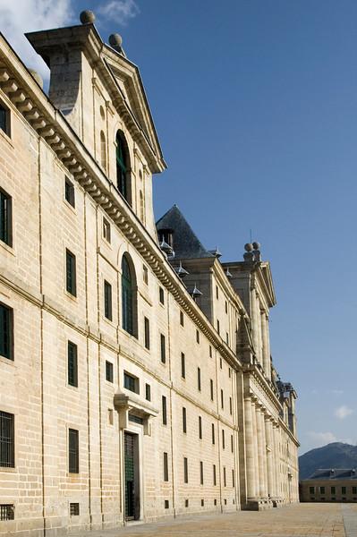 Facade of El Escorial, Spain. Side view.
