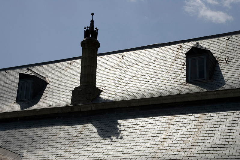 Roofing with slate tiles, El Escorial, Spain