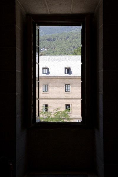 Framed view of one of the buildings from El Escorial, Spain.