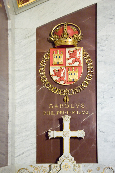 Tomb of Don Carlos (1545-1568), prince of Asturias, son of King Philip II of Spain and Maria of Portugal, heir to the Spanishthrone, whose hatred for his father led him to conspire with the king's enemies in the Low Countries, thus provoking his arrest. His death contributed to the Black Legend of Philip II.