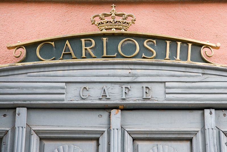 Cafe built in the 18th century by the Spanish king Carlos III (Charles III).