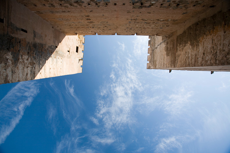 Low angle view of the battlements of Alcazaba, Alhambra, Granada, Spain
