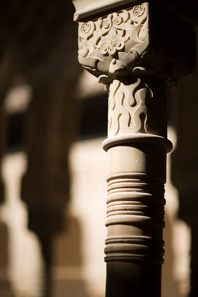 Column, Court of the Lions, Alhambra, Granada, Spain