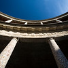 Low angle view of the circular courtyard of the Palace of Charles V, Granada, Spain