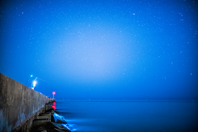 Angler on a starry night, Ayamonte, Spain.