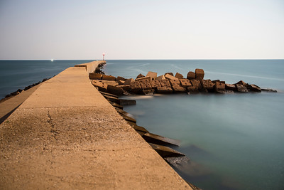 Breakwater under moonlight, long exposure shot. Ayamonte, Spain.