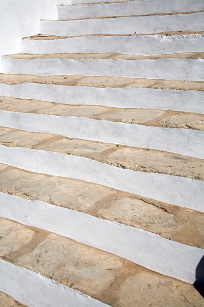 Stairs, Santiago church, town of Casta–o del Robledo, province of Huelva, Andalusia, Spain