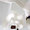 CaixaForum main stair in white concrete, work by Herzog & de Meuron, Madrid, Spain