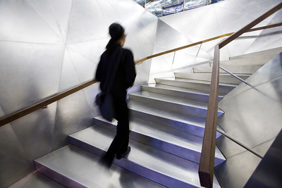 Stainless steel staircase in the entrace to Caixa Forum building, Madrid, Spain, work by Jacques Herzog and Pierre de Meuron.