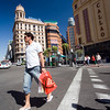 Urban scene in Callao, one of the main landmarks in Madrid city center, Spain