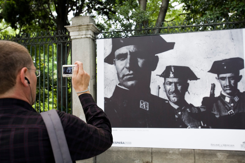 Big print of one of W. Eugene Smith's most known photographs exhibited on the street, Madrid, Spain