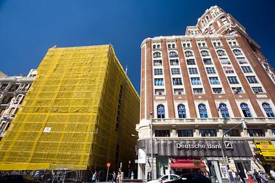 Building being restored on Gran Via, Madrid, Spain