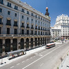 Vantage point view of Seville street, in Madrid downtown, Spain