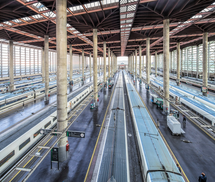 AVE trains, Atocha Railway Station, Madrid, Spain.
