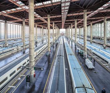 AVE trains, Atocha Railway Station, Madrid, Spain.