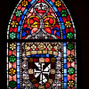 Close-up of a stained glass Gothic window, Cathedral of the town of Leon, autonomous community of Castilla y Leon, northern Spain