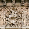 The figure of Saint James carved on the facade of Hotel San Marcos, former hostel for pilgrims, town of Leon, autonomous community of Castilla y Leon, northern Spain