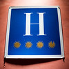 Four stars hotel sign, town of Leon, autonomous community of Castilla y Leon, northern Spain
