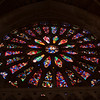 Stained glass rose window, Gothic Cathedral, town of Leon, autonomous community of Castilla y Leon, northern Spain