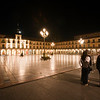 Plaza Mayor (Main Square) by night, town of Leon, autonomous community of Castilla y Leon, northern Spain