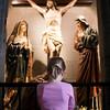 Little girl praying in a Catholic church, town of Ponferrada, El Bierzo region, province of Leon, autonomous community of Castilla and Leon, northern Spain