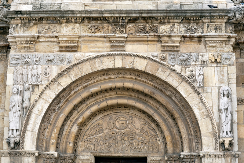 Detail from the facade of the Romanesque San Isidoro basilica, Town of Leon, autonomous community of Castilla y Leon, northern Spain