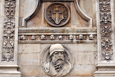 Detail of the facade ornaments in Plateresco style, San Marcos Hostel, town of Leon, autonomous community of Castilla y Leon, northern Spain