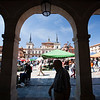 Market at Plaza Mayor (Main Square) Town of Leon, autonomous community of Castilla y Leon, northern Spain