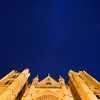 Cathedral facade by night, town of Leon, autonomous community of Castilla y Leon, northern Spain