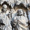 Gothic sculptures, western facade, Cathedral, town of Leon, autonomous community of Castilla y Leon, northern Spain